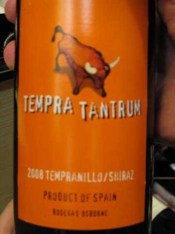 Tempratantrum: OK, this one's actually kind of cute, and linguistically ingenious to boot. There's a whole line of these Spanish wines, and they're pretty well liked. (Photo by Picasa, courtesy of Osborne Group)
