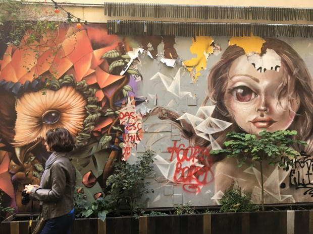Part of the open-air free-form art gallery inside the Haus Schwarzenberg Alley. Tucked into an alley next to the Café Cinema, just off the Hackesher Markt in Mitte. Photo by Marla Jo Fisher, Orange County Register. Sept. 2017.