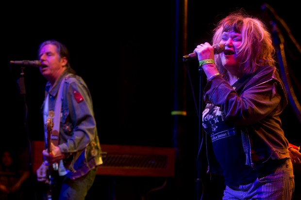 From right, Exene Cervenka and John Doe of X, shown here at the Observatory in Santa Ana in 2015, will perform as part of the Natural History Museum's First Fridays series. (File photo by Drew A. Kelley)
