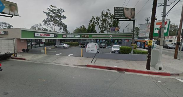 A man was found stabbed to death early Wednesday, Jan. 10, 2018, in this strip-mall parking lot on the northeast corner of Laurel Canyon Boulevard and Oxnard Street. (Google Street View)