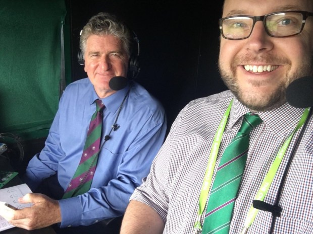 Doug Adler, left, with Mark Donaldson calling a match for ESPN at Wimbledon in 2016. (Courtesy photo)