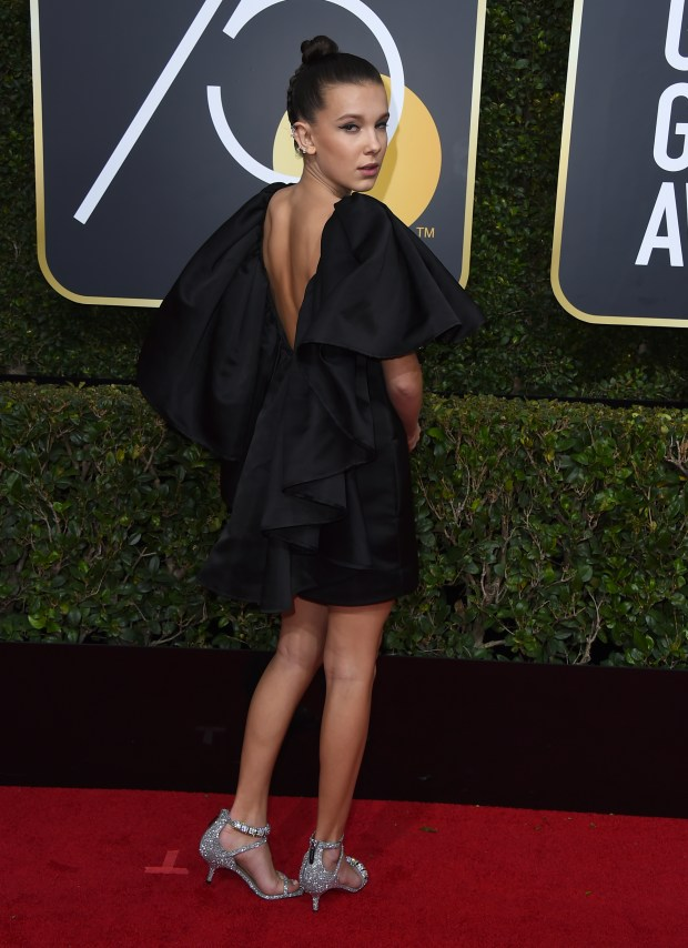 Millie Bobby Brown arrives at the 75th annual Golden Globe Awards at the Beverly Hilton Hotel on Sunday, Jan. 7, 2018, in Beverly Hills, Calif. (Photo by Jordan Strauss/Invision/AP)