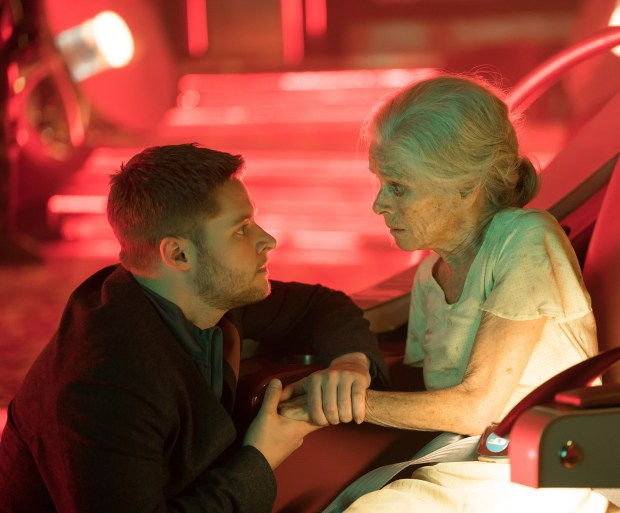 """Jack Reynor and Geraldine Chapman in """"Impossible Planet"""" and episode of """"Philip K. Dick's Electric Dreams"""" called """"Impossible Planet."""""""
