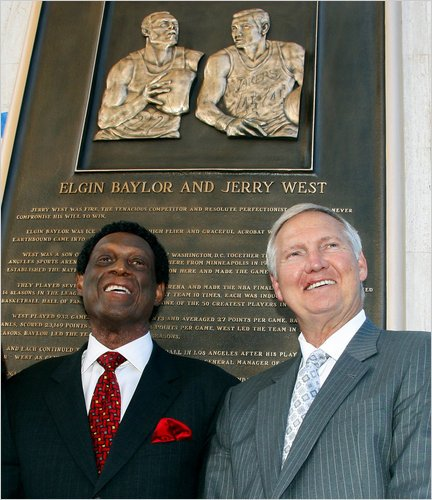 'From the time I first got to Los Angeles, he got right on me, razzing me about everything imaginable, especially the part of the world I came from,' Lakers legend Jerry West wrote about Elgin Baylor in his autobiography. 'It took me a little while but once I understood, for Elgin, teasing was the ultimate form of affection, I knew we would be friends for life, the bond between us unbreakable, and we have been.' (Photo by Reed Saxon, The Associated Press)