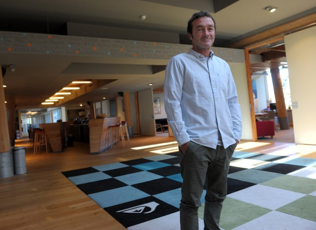 Frenchman Pierre Agnes, Global Head of Apparel, who is also responsible for Global Marketing for Quiksilver and Roxy, and for the Europe region, stands in his office on October 17, 2014, in Saint-Jean de luz. Agnes is taking on the title of President of Quiksilver, Roxy and DC Shoes from Bob McKnight, will retire as a senior executive of the company effective Oct. 31. AFP PHOTO / GAIZKA IROZ (Photo credit: IROZ GAIZKA/AFP/Getty Images)