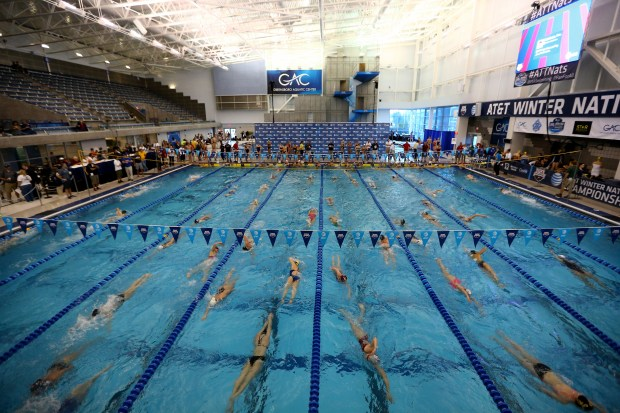 GREENSBORO, NC - DECEMBER 04: A general view of warm ups before day 1 of the USA Swimming 2014 AT&T Winter National Championships at the Greensboro Aquatic Center on December 4, 2014 in Greensboro, North Carolina. (Photo by Streeter Lecka/Getty Images)