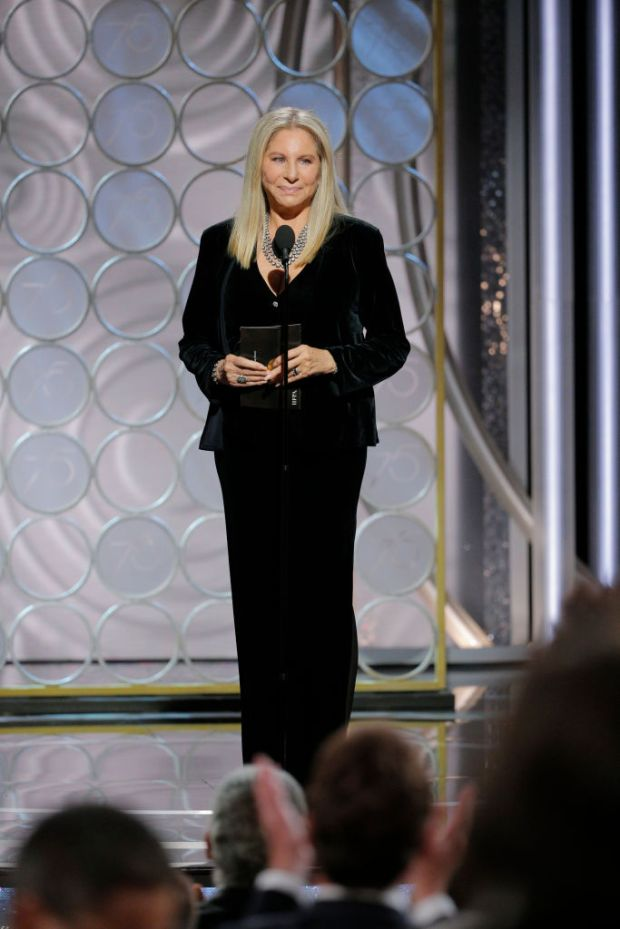 BEVERLY HILLS, CA - JANUARY 07: In this handout photo provided by NBCUniversal, Presenter Barbra Streisand speaks onstage during the 75th Annual Golden Globe Awards at The Beverly Hilton Hotel on January 7, 2018 in Beverly Hills, California. (Photo by Paul Drinkwater/NBCUniversal via Getty Images)