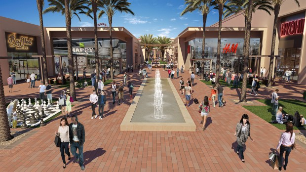 A rendering of the new alfresco paseos under construction at the Irvine Spectrum Center. (Courtesy the Irvine Co.)