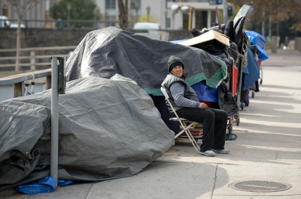 Los Angeles city leaders are planning to house dozens of homeless people in trailers on a city-owned lot downtown as a possible model for citywide temporary shelters. (Photo by David Crane, Los Angeles Daily News/SCNG)