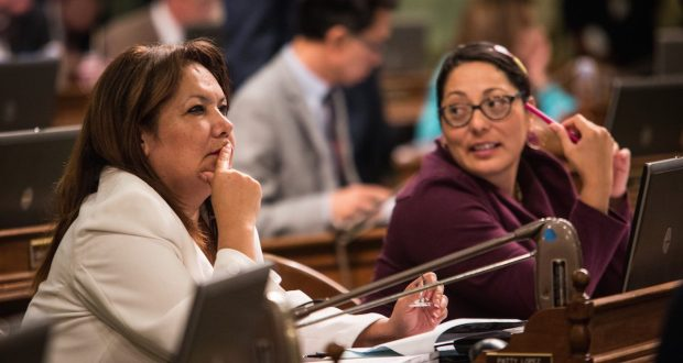 Former Democratic Assemblywomen Patty Lopez (left) of San Fernando with Assemblywoman Cristina Garcia (right) of Bell Gardens. (Courtesy file photo by Max Whittaker for CALmatters)