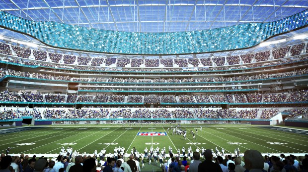 An artist's rendering of the 'Level 2 Midfield' seating at the new football stadium under construction at the former site of Hollywood Park in Inglewood. (Photo courtesy of HKS Architects)