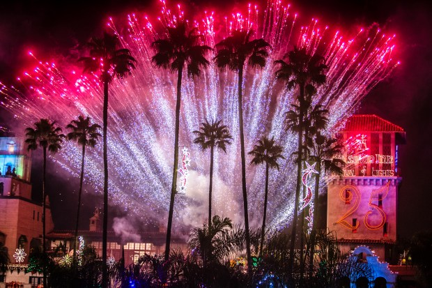 Fireworks light up the sky during 25th annual Festival of Lights switch-on ceremony at The Mission Inn Hotel & Spa in Riverside on Friday, Nov. 24, 2017. (Photo by Watchara Phomicinda, The Press-Enterprise/SCNG) ORG XMIT: RIV2017122711473993
