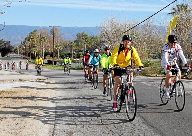 RDF-L-NECKLACE-02Cyclists ride on Nevada Street during the Emerald Necklace Trail and Scenic Route tour, a counter-clockwise tour through the many gems in Redlands, in Redlands, CA., Saturday, February 22, 2014. (Photo by James Carbone for the Redlands Daily Facts)