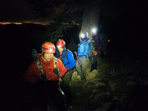 From left, San Gorgonio Search and Rescue team members Chad Holgate, Bill Loenhorst, Brandon Woodruff and Shane Franklin search for lost hiker Bethany Sloan, 32, of Redlands about 1 a.m. Sunday, Jan. 7, 2018, on Vivian Creek Trail near San Bernardino Peak Divide Trail.