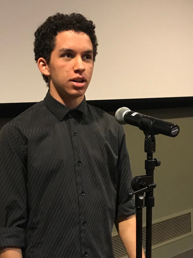 Jackson Dean, a junior at Palm Valley School in Rancho Mirage, is seen here at the Riverside County Poetry Out Loud competition, held at the Barbara and Art Culver Center of the Arts in downtown Riverside on Jan. 20, 2018. He won the competition. (Courtesy photo)