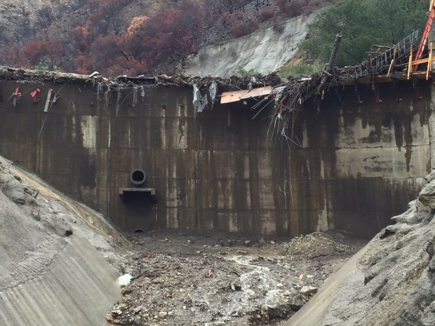 The Upper Sunset Debris Basin in the hills above Burbank is being assessed by officials with the Los Angeles County Department of Public Works. (Photo courtesy L.A. County Public Works)