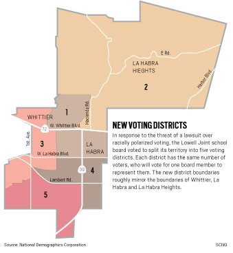 New voting districts in the Lowell Joint School District.