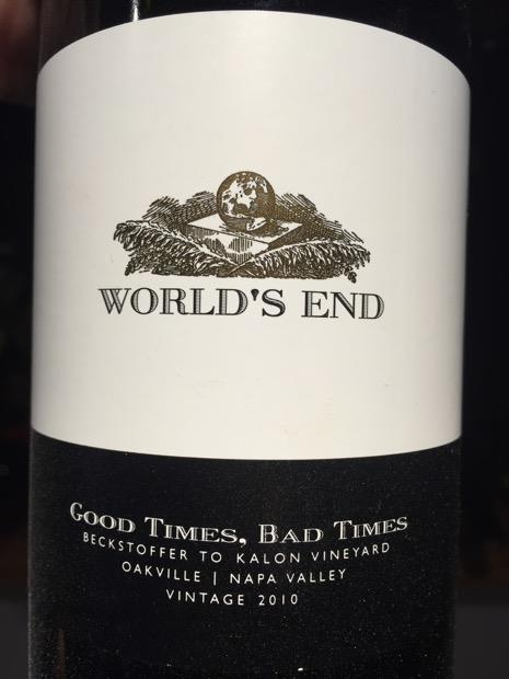 World's End: Fairly classy, but a marketing failure. Do I really want to be thinking about the end of the world while drinking wine that came from Napa's greatest vineyard? (Photo courtesy of JCP Maltus)