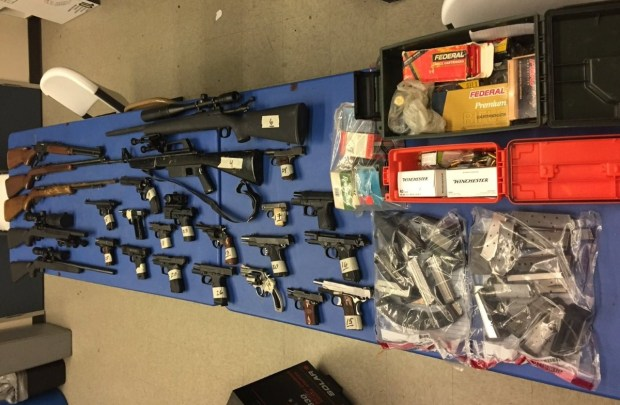 North Hollywood man Mark Morman, 55, has been charged with 29 criminal counts for allegedly possessing this arsenal of weapons and ammuntion that he is barred from having due to a criminal protective order stemming from a domestic violence charge in Burbank. The weapons were on display Tuesday, Feb. 6, 2018, during a press conference held by LA City Attorney Mike Feuer. (Courtesy photo)