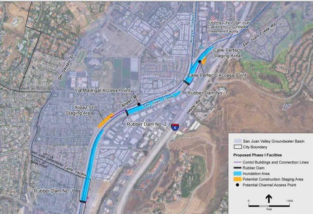 This map from an environmental report shows where three inflatable rubber dams could be placed in to San Juan Creek in San Juan Capistrano; downstream from where Trabuco Creek and San Juan Creek converge. (Courtesy of Santa Margarita Water District)