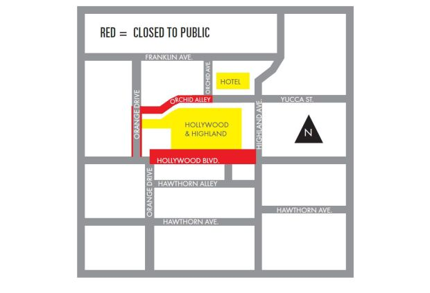These are the street closures for Tuesday, Feb. 20, 2018, around the Hollywood & Highland complex in the run-up to the Academy Awards on Sunday March 4. More streets will be closed as the ceremony approaches. (Map courtesy of the Academy of Motion Picture Arts & Sciences)
