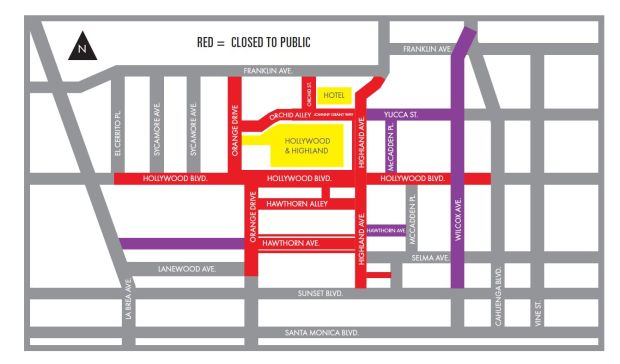 These streets around the Dolby Theatre will be closed on Sunday, March 4, 2018, the day the Academy awards will be presented in Hollywood. (Map courtesy of the Academy of Motion Picture Arts & Sciences)