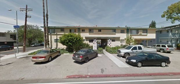 Bed linens that ignited when they came into contact with a heater resulted in a 55-year-old man suffering burns early Wednesday, Feb. 21, 2018, in this apartment building at 6205 Fulton Ave. in Valley Glen, the LAFD said. (Google Street View)