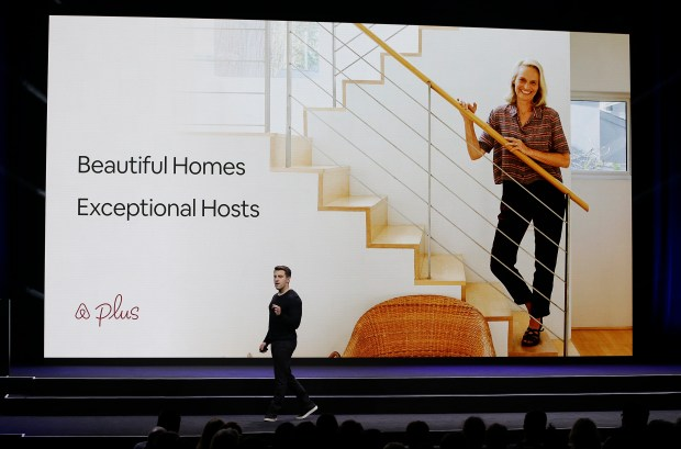 """Airbnb co-founder and CEO Brian Chesky talks about a new """"Plus"""" program during an event Thursday, Feb. 22, 2018, in San Francisco. Airbnb is dispatching inspectors to rate a new category of properties listed on its home-rental service in an effort to reassure travelers they're booking nice places to stay. The new """"Plus"""" program unveiled Thursday initially will only cover about 2,000 homes in 13 cities. That's a small fraction of the roughly 4.5 million rentals listed on Airbnb in 81,000 of cities throughout the world. (AP Photo/Eric Risberg)"""