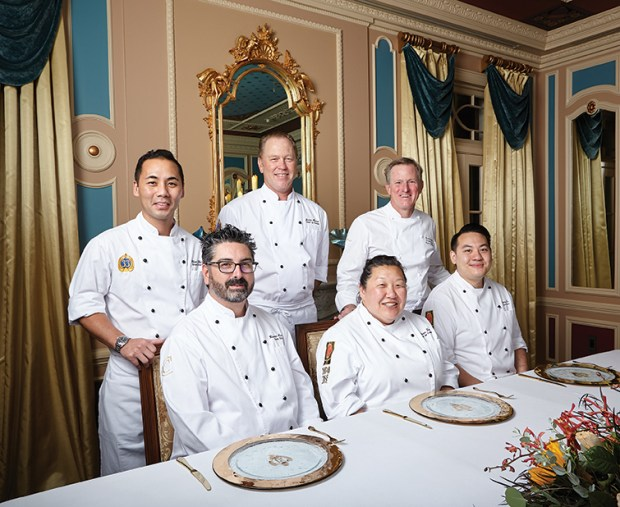 Sutton, far right, is joined by Disneyland Resort chefs (clockwise) Danny Le, Gloria Tae, Ronnie Arnold, Clint Chin and Justin Monson (who departed the company).