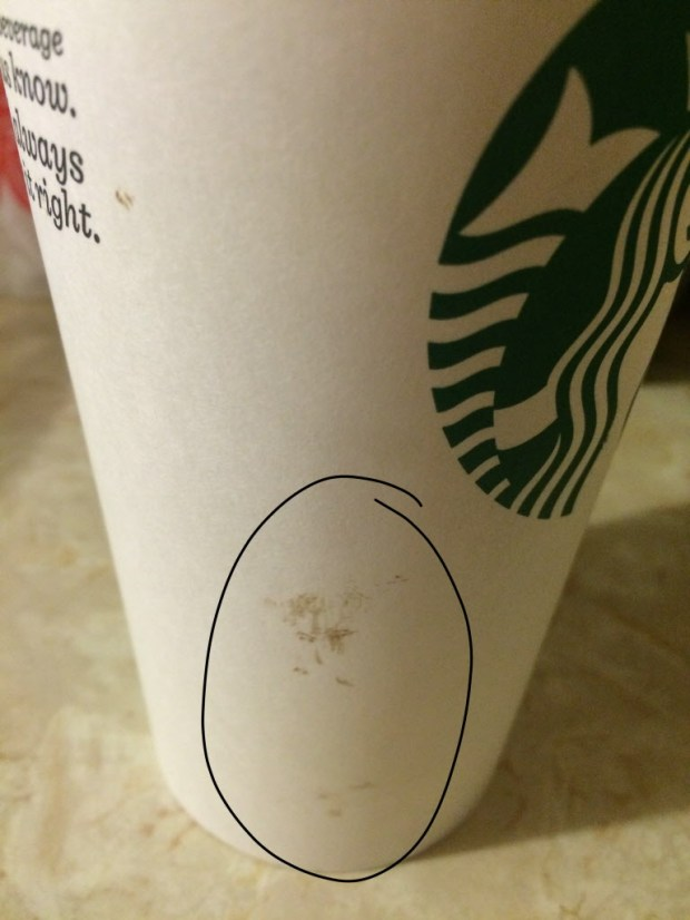 A photo shows a stain on a coffee cup that a Redlands family said is blood. The family has sued Starbucks, claiming that a barista who was bleeding served them blood-tainted drinks in February 2016. (Courtesy of Stan Pekler for Frish Law Group)