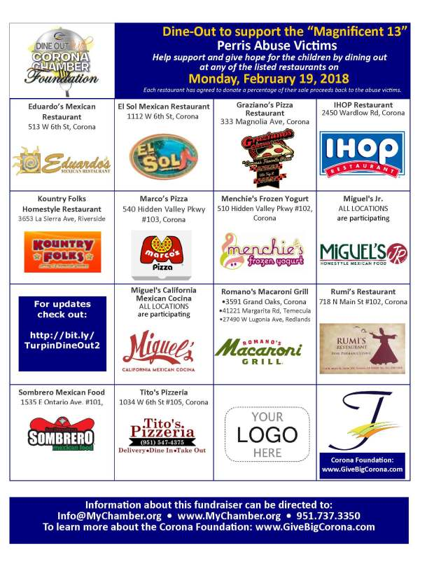"Restaurants participating in a second ""Dine Out"" fundraiser on Monday, Feb. 19, to benefit the Turpin siblings. (Courtesy of Corona Chamber of Commerce)"