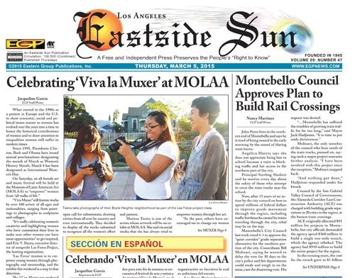 Una de las portadas del periódico bilingüe Eastside Sun, parte de Eastern Group Publications, el cual cerró operaciones esta semana. (Captura de pantalla de EGPNews.com)