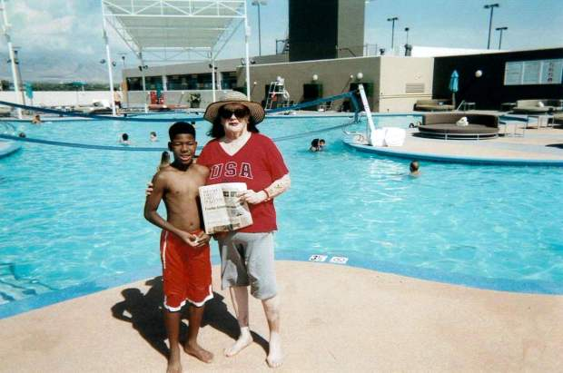 Isaiah Mathis Jr., of Upland, left, and his grandmother, Rebecca Ruiz, of Ontartio, visited the pool at the Stratosphere hotel in Las Vegas. (Photo courtesy of Rebecca Ruiz)