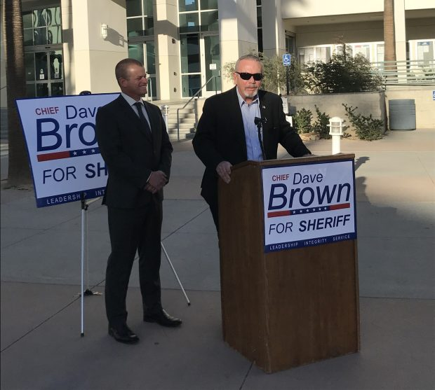 Former Hemet Police Chief David Brown, left, stops at the Riverside County Administrative Center in Riverside, one of several stops of a countywide tour Tuesday, Feb. 7, 2018, to kick off his campaign for sheriff. Standing behind him is Supervisor John Tavaglione, who has endorsed Brown. (Photo courtesy of the Brown campaign)