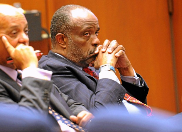 State Sen. Roderick Wright (D-Inglewood ) in court before he testified in his felony voter fraud trial inside a Los Angeles Superior Courtroom Thursday afternoon. Los Angeles, Calif., Thursday, January 16, 2014. (Photo by Stephen Carr / Daily Breeze)