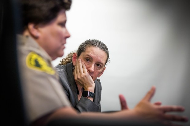 Los Angeles Sheriff's Commander Cheryl Newman-Tarwater listens to Capt. Diana Holloway discuss moving the Women's Jail in Lynwood on December 18, 2017 to the now vacant Mira Loma Detention Center in Lancaster. (Photo by Sarah Reingewirtz, Los Angeles Daily News/SCNG)