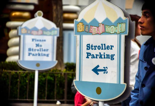Signs direct visitors where, and where not to park their strollers near It's a Small World in Fantasyland at Disneyland in Anaheim on Wednesday, Feb 14, 2018. (Photo by Jeff Gritchen, Orange County Register/SCNG)