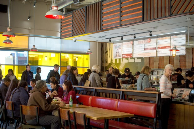 Pasadena-based Blaze Fast-Fire'd Pizza during lunch hour on Wednesday, Feb. 28, 2018. The company is adding 400 locations across the U.S., Canada, the Middle East and North Africa and continues to maintain its target of 1,000 restaurants within four to seven years. (Photo by Sarah Reingewirtz, Pasadena Star-News/SCNG)