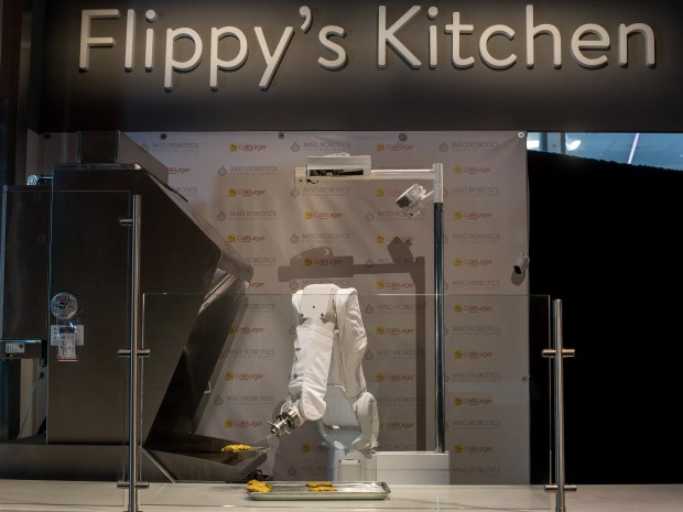 Flippy, the burger-flipping robot, is coming to CaliBurger in Pasadena on Tuesday, Feb. 20, 2018. The company says it will take 18 months to make back the $60,000 investment. (Photo by Sarah Reingewirtz, Pasadena Star-News/SCNG)