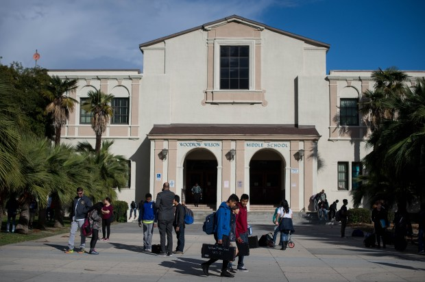 At the end of the school day, Wilson Middle School students leave their Pasadena school on Tuesday, Feb. 27, 2018. Wilson is one of five schools that PUSD may close to fill a budget gap. (Photo by Sarah Reingewirtz, Pasadena Star-News/SCNG)