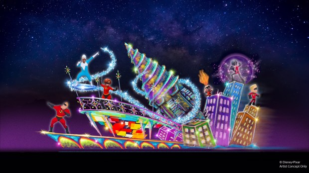 Artist rendering of a new Incredibles-themed float will add more fun to the Paint the Night parade at Disney California Adventure park. Courtesy of the Disneyland Resort.