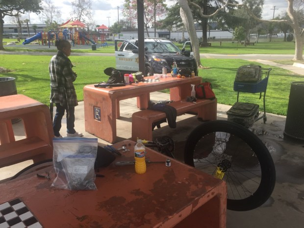 Deputies from the sheriff's La Puente Special Assignment team teams with local businessmen to help the mother and son living on the streets find work, shelter and hope after encountering them at a park in La Puente on Wednesday, Feb. 14, 2018. (Courtesy, Los Angeles County Sheriff's Department)