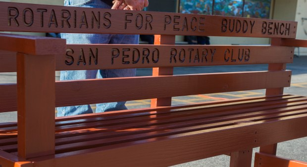 Rotary Clubs of Southern California District 5280 delivered a Peace/Buddy Bench at Barton Hill Elementary School in San Pedro Monday, February 26, 2018. (Photo by Thomas R. Cordova / Daily Breeze)