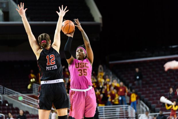 Senior forward Kristen Simon leads USC with 17.6 points and nine rebounds per game. The team captain and two-time All-Pac-12 honoree will lead the Trojans into a Pac-12 Tournament opener against Washington State on Thursday in Seattle. (Photo courtesy of USC Sports Information)