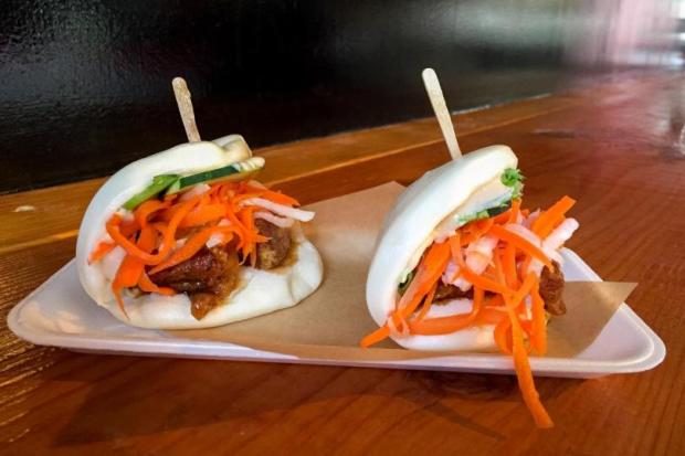 Bao sliders are stuffed with pork belly at Saigon Beach in Newport Beach. (File photo)