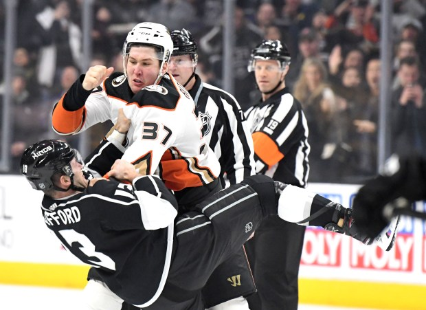 Anaheim Ducks left wing Nick Ritchie (37) fights with Los Angeles Kings left wing Kyle Clifford (13) during the first period of a NHL hockey game at Staples Center on Saturday, Jan. 13, 2018 in Los Angeles. (Photo by Keith Birmingham, Pasadena Star-News/SCNG)