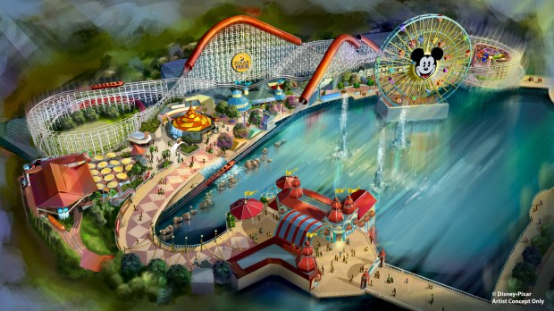 Artist rendering provided by Walt Disney Imagineering of the upcoming changes to the new Pixar Pier development at Disney California Adventure in Anaheim, as of March 8, 2018. The pier is still under construction.