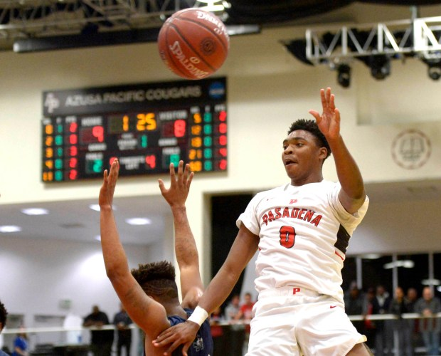 Pasadena's Bryce Hamilton (C) (0) passes against Chino Hills in the first half of a CIF-SS Division 1 championship basketball game at the Felix Event Center on the west campus of Azusa Pacific University in Azusa, Calif., on Saturday, March 03, 2018. (Photo by Keith Birmingham, Pasadena Star-News/SCNG)
