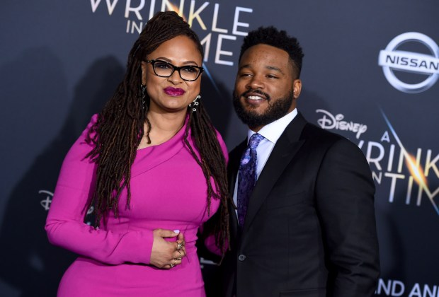 "Ava DuVernay, left, and ""Black Panther"" director Ryan Coogler arrive at the world premiere of ""A Wrinkle in Time"" at the El Capitan Theatre on Monday, Feb. 26, 2018, in Los Angeles. (Photo by Jordan Strauss/Invision/AP)"