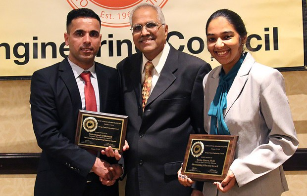 Civil and environmental engineering faculty member Beena Ajmera and graduate student Mohammed Al-Behadili accept their awards from CT Bathala, center, president of the Orange County Engineering Council. (Photo courtesy of Cal State Fullerton)